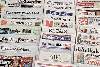 image of newspapers from multiple countries and languages